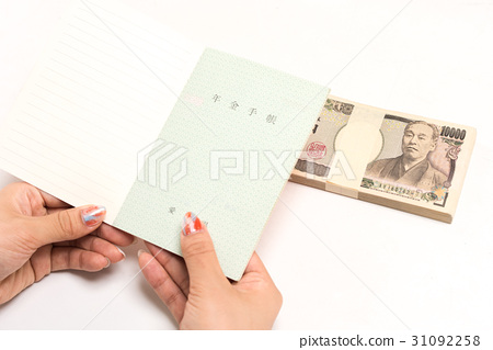 A young woman with a pension notebook and a warranty of 10,000 yen 1 million yen white back 31092258