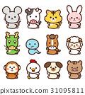 สัตว์,ภาพวาดมือ สัตว์,ปีใหม่ 31095811