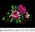 Colorful embroidery on a black background 31101928