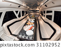 Interior inside the limousine. with sofas and a 31102952