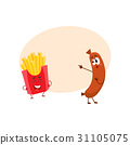 Funny smiling sausage and french fries characters 31105075