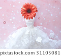 flower and wedding dress on sweet pink background 31105081