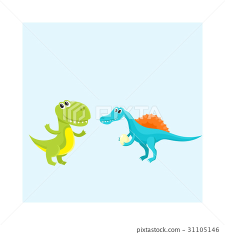 Two cute and funny baby dinosaur characters - 31105146