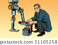 Businessman cleans shoes robot 31105258