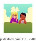 Two kids, black African boy, Caucasian girl, lying 31105500