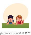 Two Caucasian kids, children lying on grass under 31105502