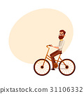Bearded man in vest and bow tie riding bicycle 31106332