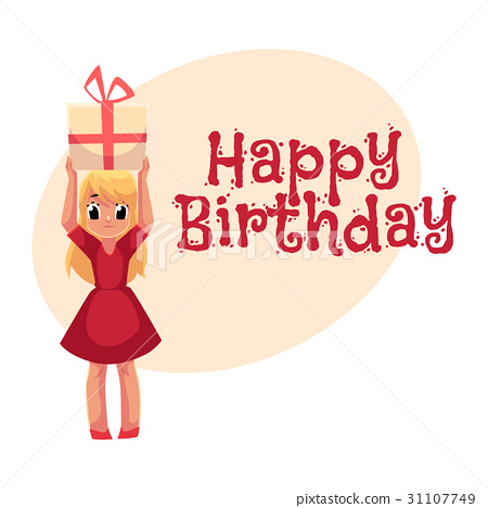 Little girl in red dress holding birthday gift