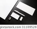Blank stationery on black 31109526