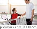 Joyful man praising his child for good playing 31110725