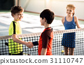 Cheerful boys shaking hands before playing tennis 31110747