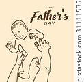 Happy father's day greeting card,line design 31111535