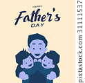 Happy father's day greeting card, Blue tone design 31111537