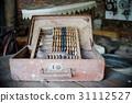 close up on old vintage Old abacus in workshop 31112527
