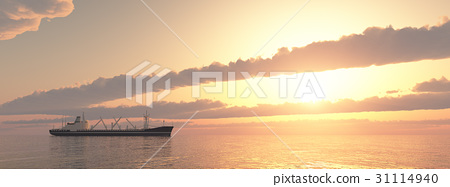 Cargo ship at sunset 31114940