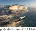 Fantasy airship over a coastal landscape 31114944