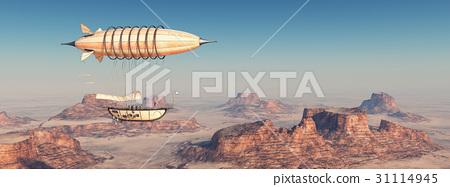 Fantasy airship over a desert 31114945