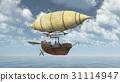 Fantasy airship over the sea 31114947