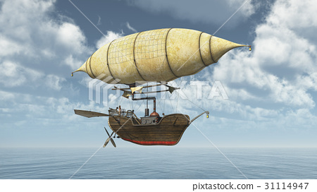 Fantasy airship over the sea 31114947