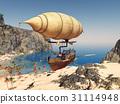 Fantasy airship over a coastal landscape 31114948
