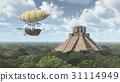 Fantasy airship and Mayan temple 31114949