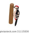 Cartoon woodpecker on a tree 31115836
