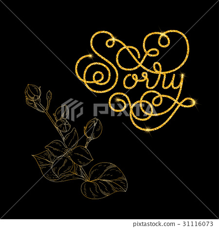 Holiday gift card with golden hand lettering Sorry 31116073