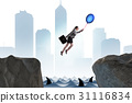 Businesswoman flying on balloon in business 31116834