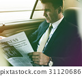 Photo Gradient Style with Businessman Reading Newspaper Car Inside 31120686