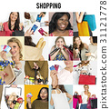 Set of Diverse Women Enjoying Sale Buy Shopping Studio Collage 31121778