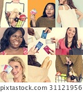 Set of Diverse Women Enjoying Sale Buy Shopping Studio Collage 31121956
