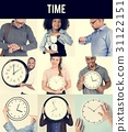 Set of Diverse People With Time Management Studio Collage 31122151