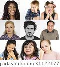 Diversity people set emotional on white background 31122177