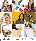 Set of Diverse Women Enjoying Sale Buy Shopping Studio Collage 31122226