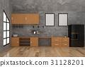 contemporary kitchen in concrete room interior  31128201