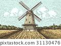 Windmill landscape in vintage, retro hand drawn or 31130476