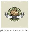 Onions Vintage set of labels, emblems or logo for 31130533