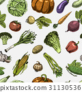 Seamless pattern with sketch of vegetables and 31130536