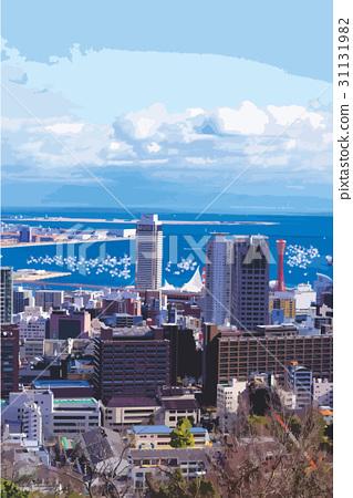 Kobe landscape with sparkling glittering sea 31131982