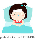Little sick girl in bed cartoon vector. 31134496