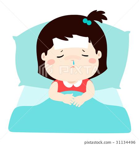 Little sick girl in bed cartoon vector. 31134496