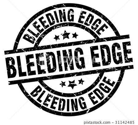 bleeding edge round grunge black stamp 31142485