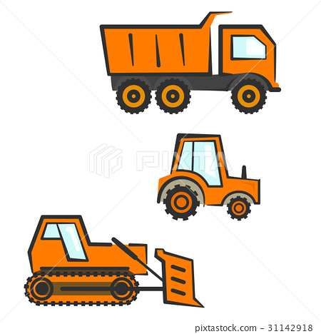 Industrial transport set  Dozer, tractor, dumper - Stock