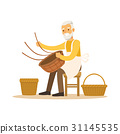 Senior man weaving baskets, craft hobby or 31145535