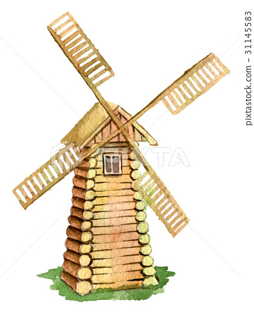 watercolor sketch of wooden mill 31145583