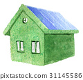 watercolor sketch of green eco house isolated  31145586