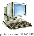 watercolor sketch of old computer isolated 31145589