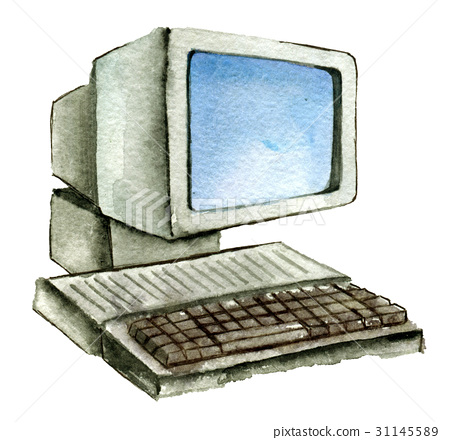 watercolor sketch of old computer isolated - Stock