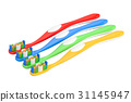 Set of colored toothbrushes, 3D rendering 31145947