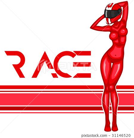 Rally race banner with girl 31146520